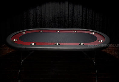 "84"" Deluxe Poker Table - Black Suited Speed Felt (folding legs)"