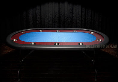 "84"" Deluxe Poker Table - Blue Suited Speed Felt (folding legs)"