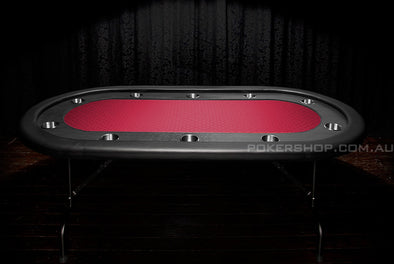 "84"" Deluxe V2 Poker Table - Red Suited Speed Felt"