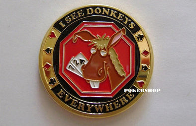 Gold Poker Card Guard - I SEE DONKEYS EVERYWHERE