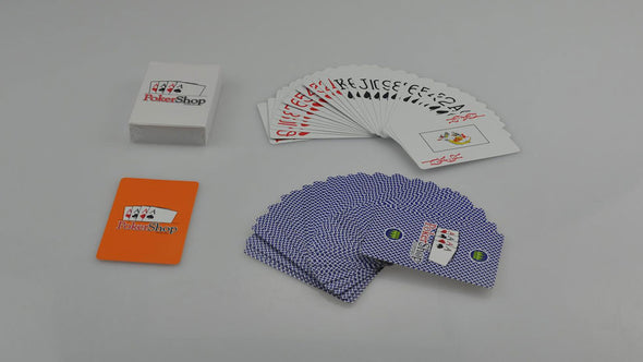 Blue deck of 100% Plastic PokerShop playing cards