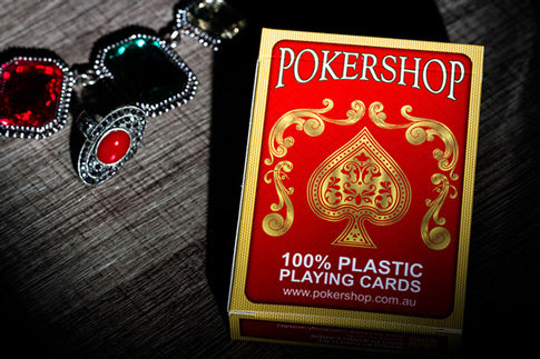 Red deck of 100% Plastic PokerShop playing cards