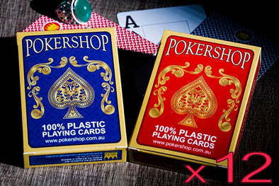 12 x Decks of 100% Plastic PokerShop playing cards