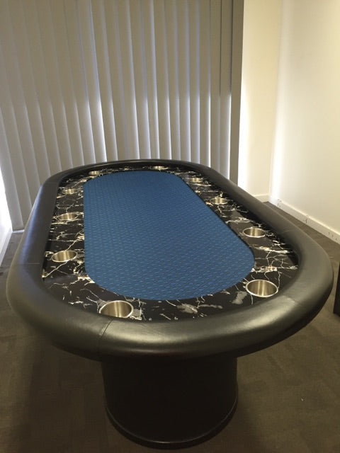 "90"" Faux Marble Poker table - Black Suited"