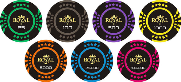 500pce Royal Club Poker 13.5g Chip set