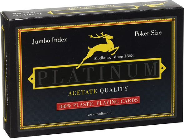 Modiano Platinum Acetate 2 Pack 100% Plastic (Poker/Jumbo)