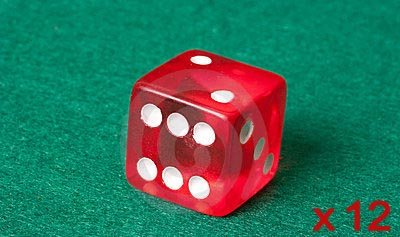 12 x Red 19mm Casino Dice