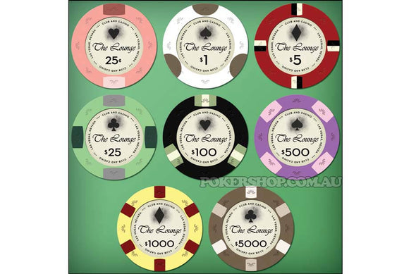 "500 x ""The Lounge"" Ceramic Casino chips 10g"