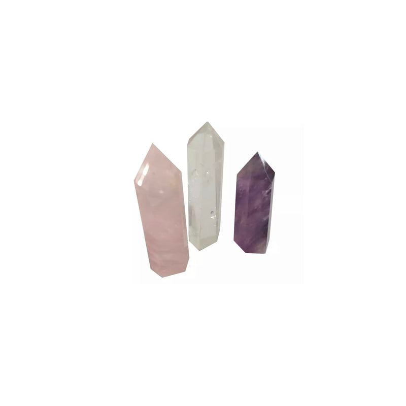 Crystal Wand Set of 3 Clear quartz, rose quartz, amethyst