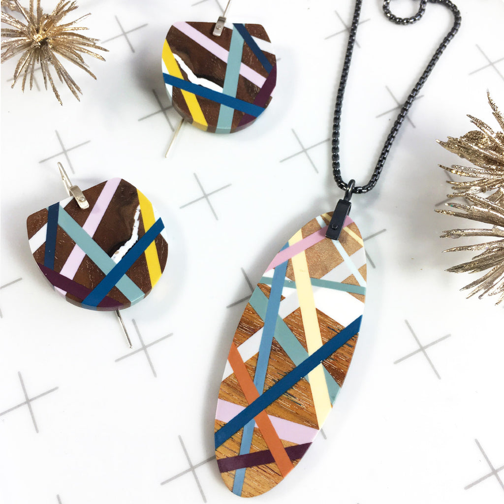 Modern Wood Jewelry Necklace and Earring Gift Sets