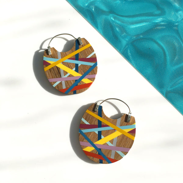 Big Earrings In Light Wood with Resin Inlay Handmade by Laura Jaklitsch Jewelry