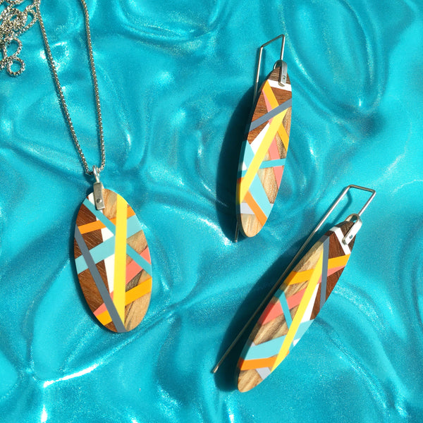 Beach Jewelry Handmade Earrings and Necklace Set Lemon Yellow