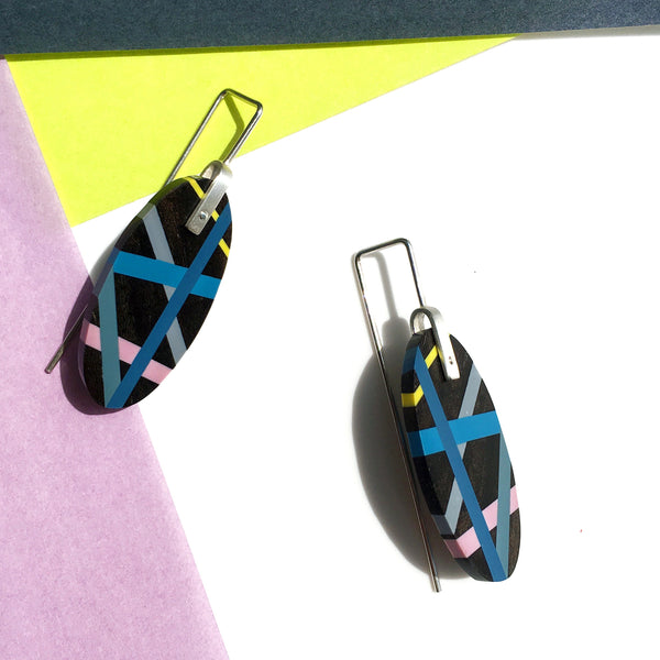 Blue Wood Jewelry Earrings with Black Ebony and Polyurethane Inlay in Blue Purple and Yellow Handmade by Laura Jaklitsch Jewelry Colorblock Styling