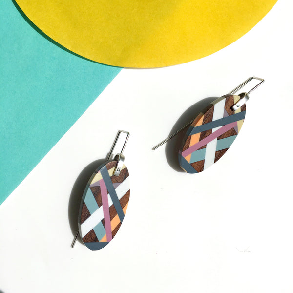 Geometric Wood and Resin Inlay Earrings