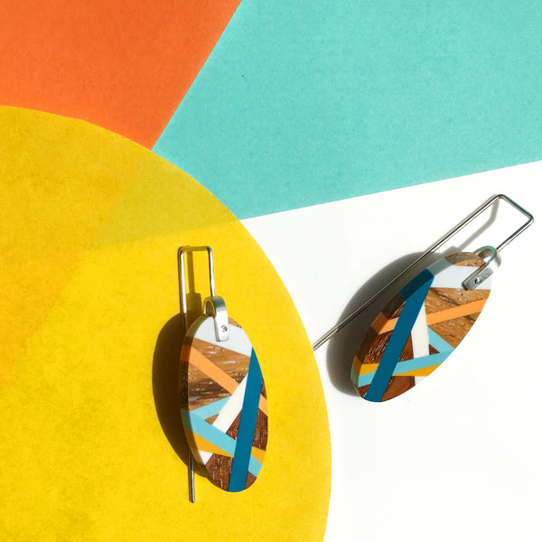 Blue Wood Earrings By Laura Jaklitsch Jewelry
