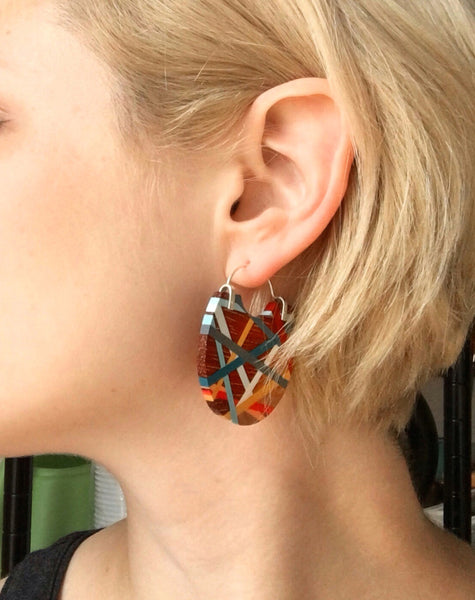 Big Hoop Earrings in Primary Colors Wood Inlay Jewelry