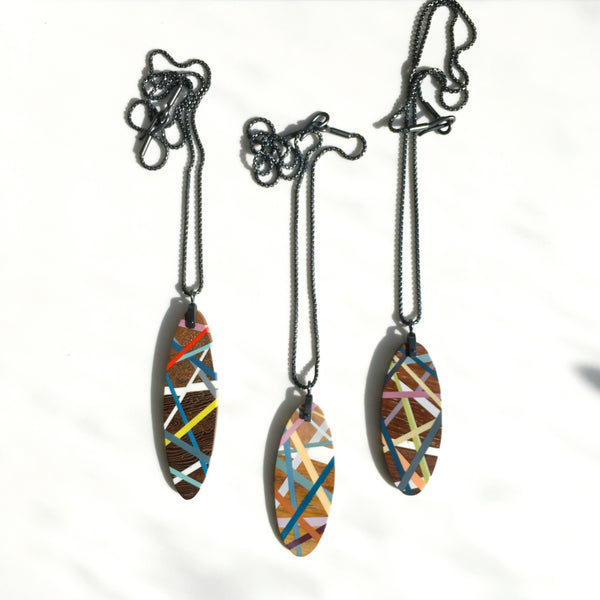 Wood Necklaces with Oxidized Sterling Silver Chain and Colorful Polyurethane Resin Inlay