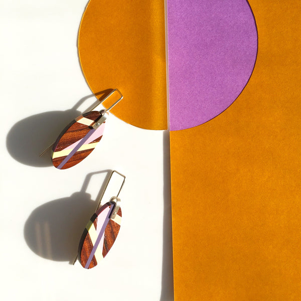 Wood Earrings With Inlay Handmade by Laura Jaklitsch Jewelry