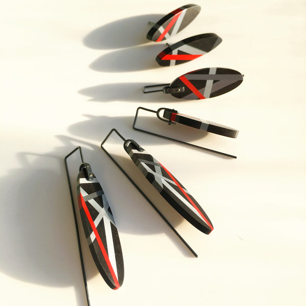 Ebony Wood Earrings - Red and Black Jewelry