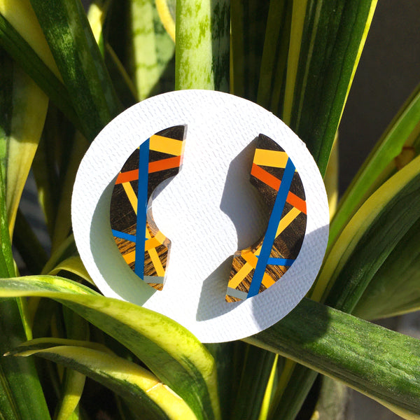 Blue Orange Crescent Post Earrings
