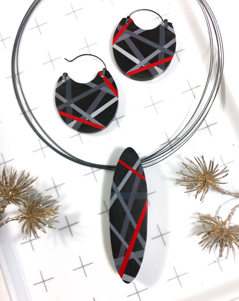 Black and Red Ebony Wood Hoop Earrings