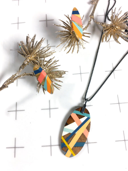 Teal Pink and Blue Wood Necklace