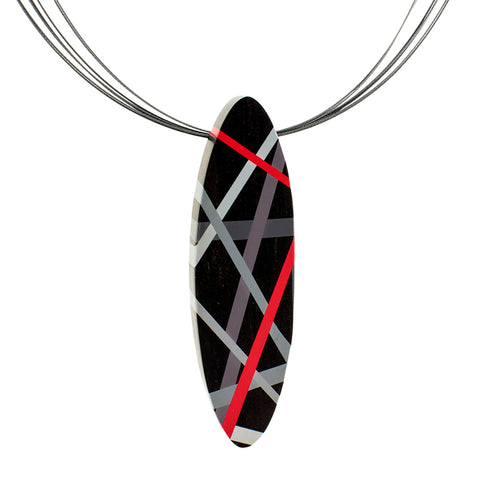 Black and Red Ebony Wood Statement Necklace and Brooch