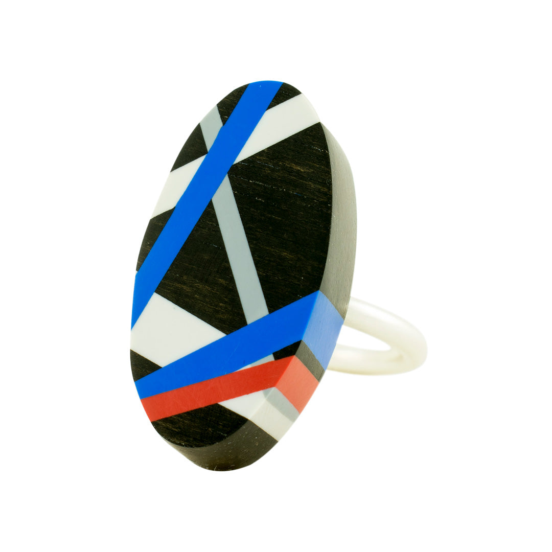 Blue and Red Ebony Wood Ring