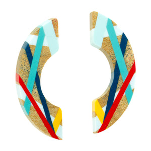Red and Blue Maple Wood Crescent Earrings