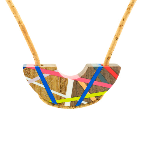 Crescent Cork Wood Necklace