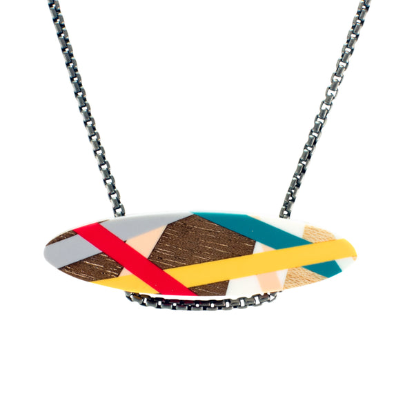 Laura Jaklitsch Jewelry Wood x Polyurethane Red Gold Teal Bar Necklace