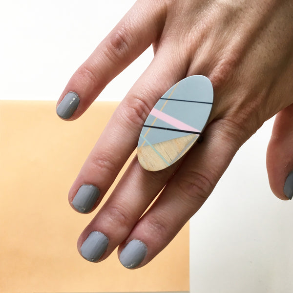 Laura Jaklitsch Jewelry Wood x Polyurethane Pink Grey Cocktail Ring