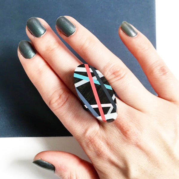 Coral Pop Ebony Cocktail Ring Wood Jewelry