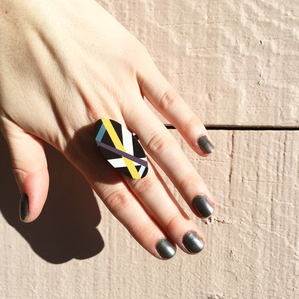 Laura Jaklitsch Jewelry Wood x Polyurethane Graphic Lines Ebony Cocktail Ring