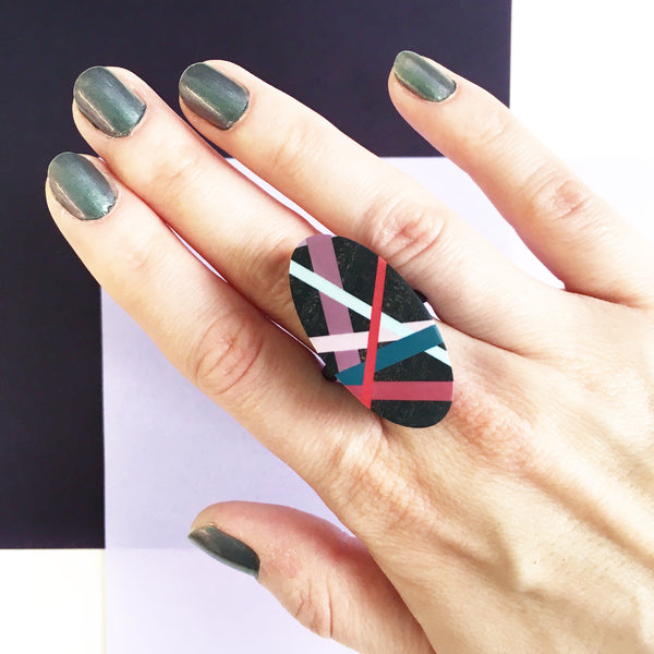 Laura Jaklitsch Jewelry Wood x Polyurethane Jewel Tones Ebony Cocktail Ring