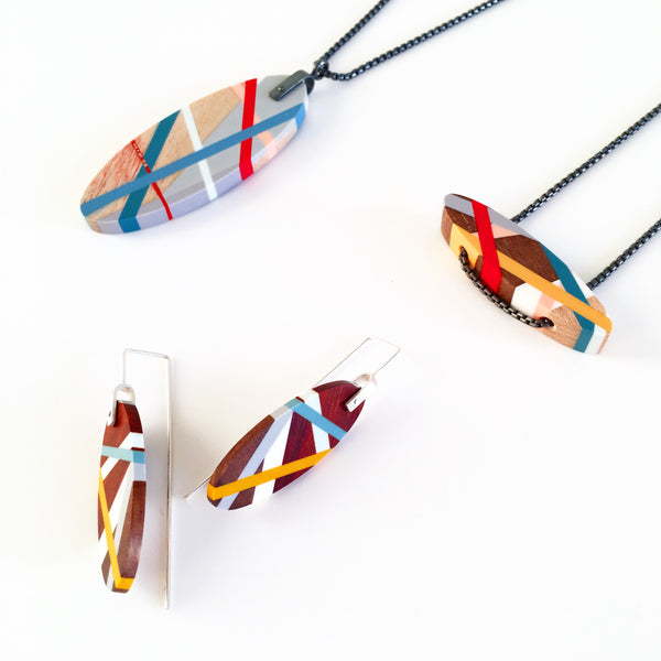 Laura Jaklitsch Jewelry Wood x Polyurethane Red Necklaces and Earrings
