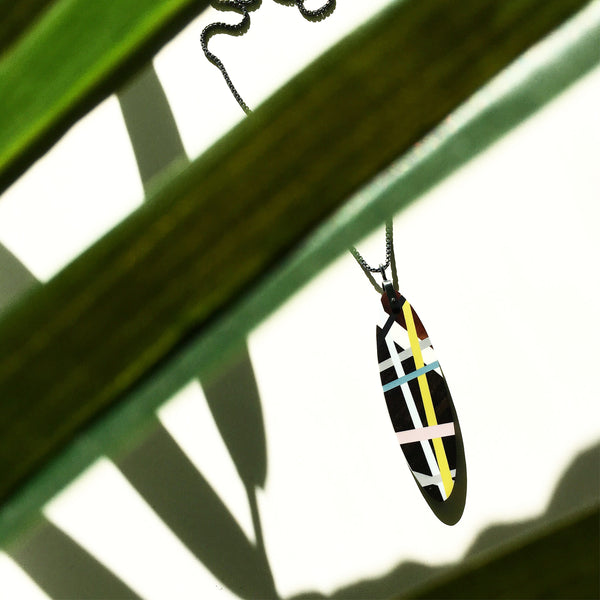 Wood Inlay Pendant Necklace with Sterling Silver Chain with Tropical Plant