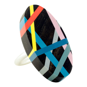 Laura Jaklitsch Jewelry Wood x Polyurethane Ebony Highlighter Orange Yellow Citron Blue Grey Lilac Pink Sterling Silver One of a Kind Ring