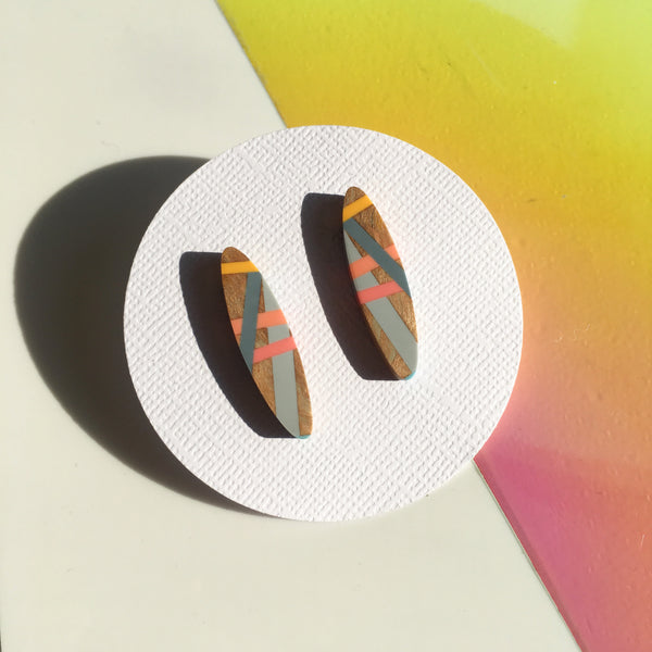 Wood and Resin Inlay Post Earrings in Living Coral