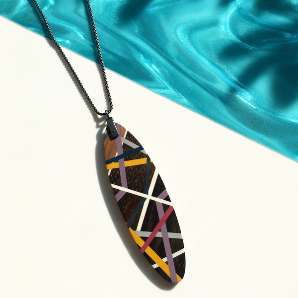 Long Oval Surf Board Shape Wood Jewelry Necklace with Resin Inlay