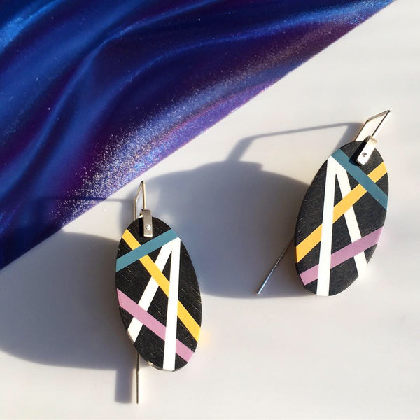 Laura Jaklitsch Jewelry Wood x Polyurethane Purple Teal Gold Ebony Earrings statement earrings