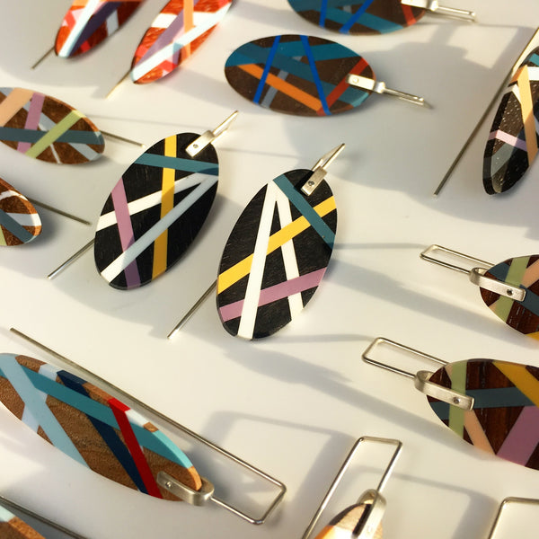 Laura Jaklitsch Jewelry Wood x Polyurethane One of a Kind Earrings bespoke square ear wire surf jewelry