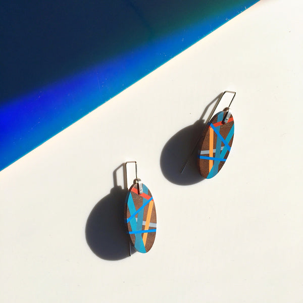 Classic Blue Wood Jewelry Pacific Coast Wood x Polyurethane Beachy Resin Inlay Earrings