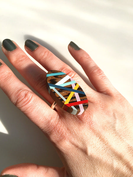 Laura Jaklitsch Jewelry Wenge Wood and Polyurethane Resin Statement Cocktail Ring Summer Style Primary Colors