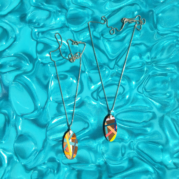 Wood and Resin Inlay Oval Necklaces with Sterling Silver Chain Made in the USA