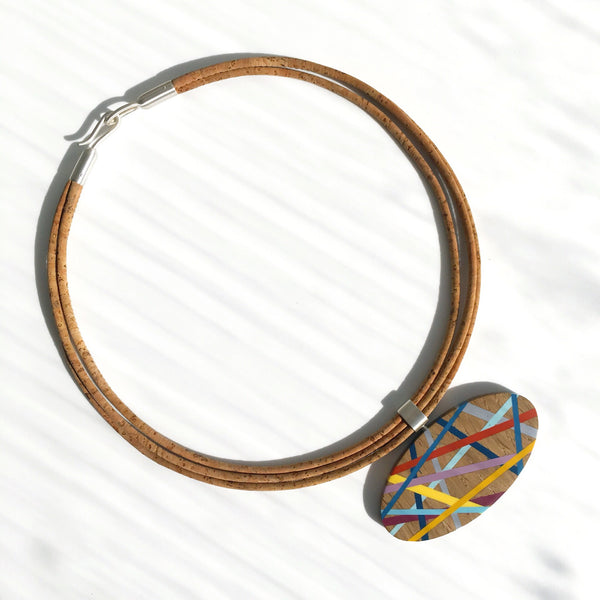 One of a Kind Statement Necklace with Wood and Resin Inlay and Sustainable Cork Cord Handmade By Laura Jaklitsch Jewelry