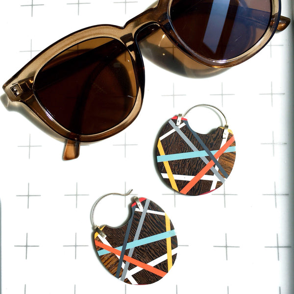 Beach Style Big Hoop Earrings, Colorful Wood Inlay Jewelry