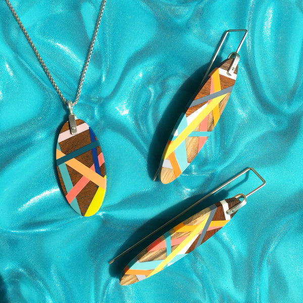 Tropical Jewelry Wood and Resin Earrings and Necklace