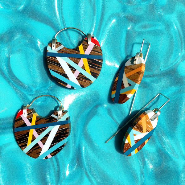 Wood Jewelry Oval Earrings and Hoop Earrings with Resin Inlay by Laura Jaklitsch Jewelry
