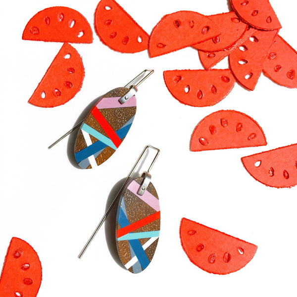 Wood Jewelry Earrings In An Oval Shape with Blue, Red, and Purple Resin Inlay